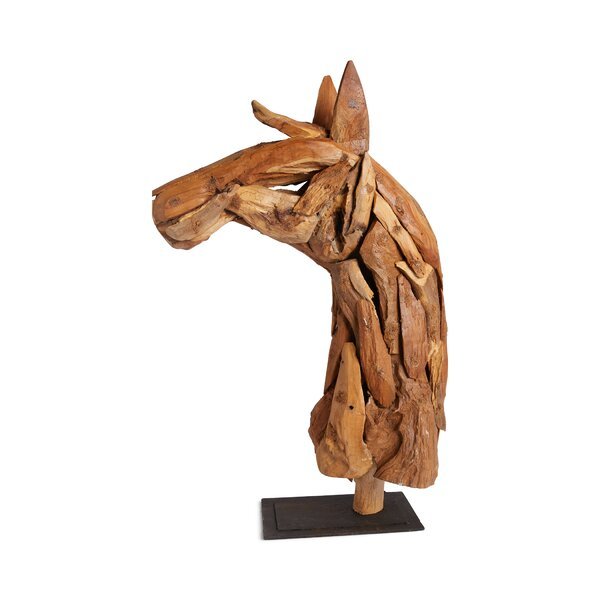 Natural Wood Horse Bust by Loon Peak
