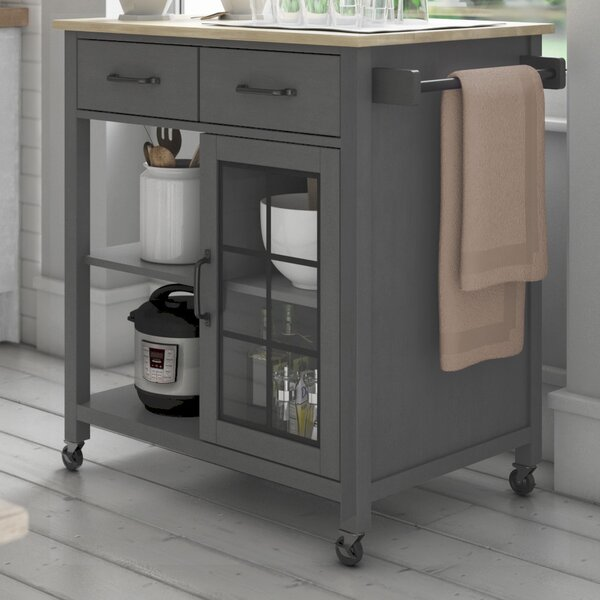Wommack Rolling Kitchen Cart with Solid Wood Top by August Grove