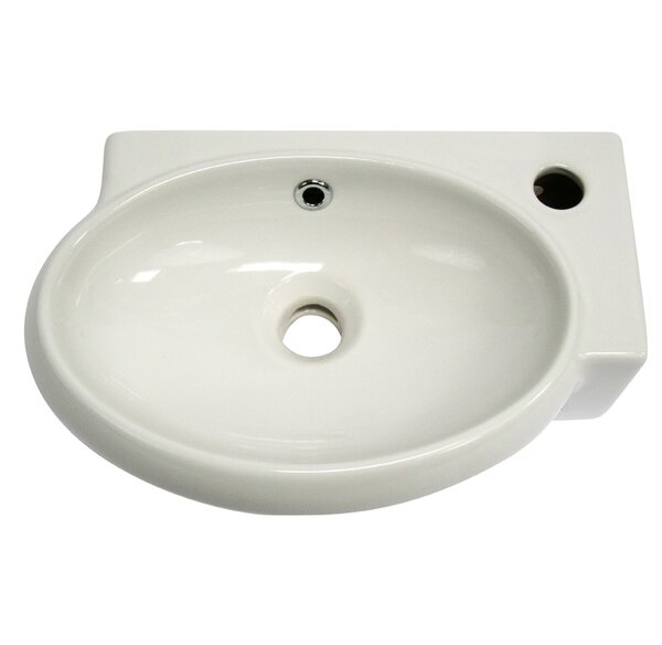 Ceramic Oval Wall-Mount Bathroom Sink with Overflow by Alfi Brand