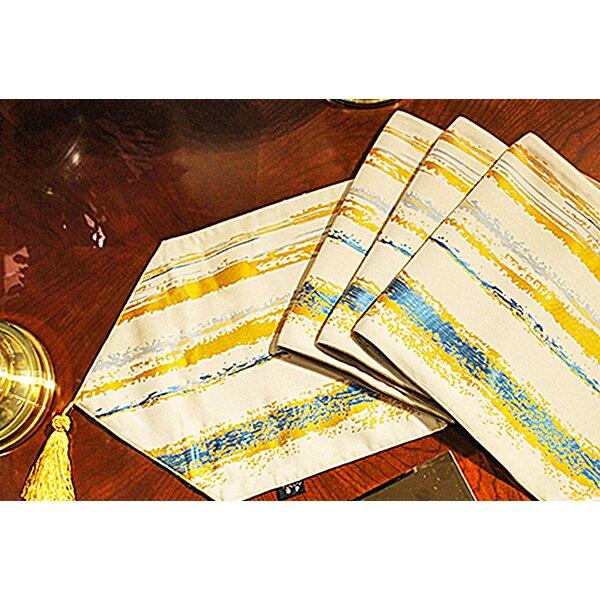 Mckinnis Art Stripe Jacquard Cotton Table Runner by Bloomsbury Market