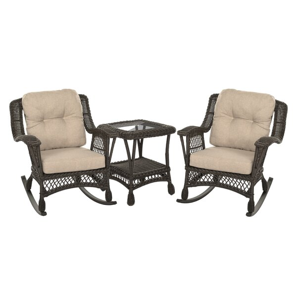 Gabriella 3 Piece Rattan Seating Group with Cushions by Bayou Breeze