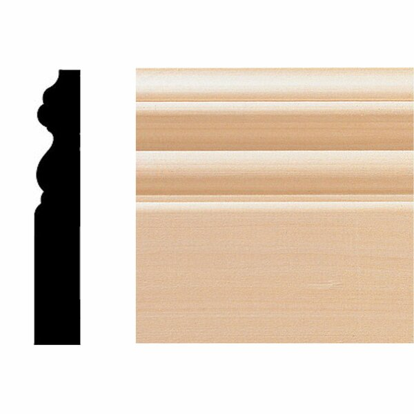 8 ft. x 4 in. x 5/8 in. Hardwood Victorian Base Moulding by Manor House
