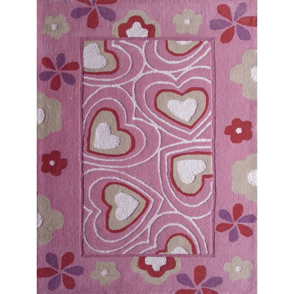 Hayworth Hearts Hand-Tufted Pink/White Area Rug by Zoomie Kids