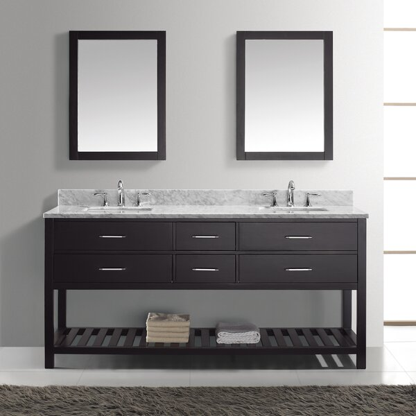 Rishaan Modern 72 Double Bathroom Vanity Set with Mirror