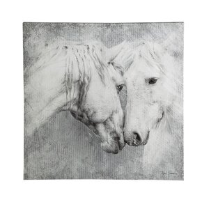 'Meeting Horses' Framed Painting Print on Canvas b