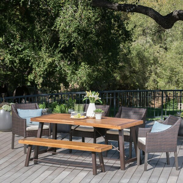 Dunton Outdoor 6 Piece Dining Set with Cushions by Mercury Row