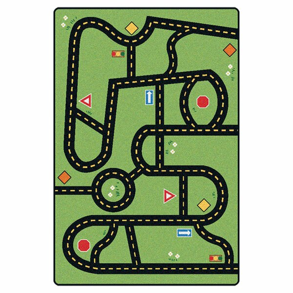 Emerado Drive and Play Green Area Rug by Zoomie Kids