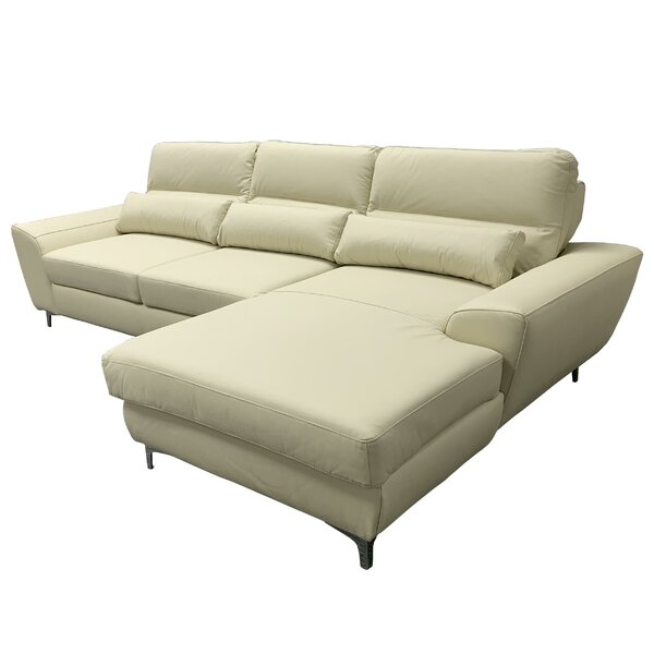 Danyel Right Hand Facing Leather Sleeper Sectional By Orren Ellis
