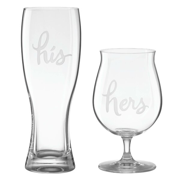 2 Piece His and Hers 24 oz. Beer Glass Set by kate spade new york