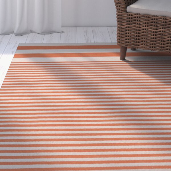 Kinslee Rust Stripe Area Rug by Breakwater Bay