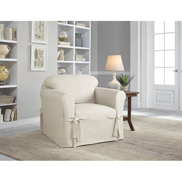Cotton Duck Box Cushion Armchair Slipcover by Sert
