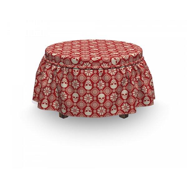 Nordic Needlework Skull Motif 2 Piece Box Cushion Ottoman Slipcover Set By East Urban Home