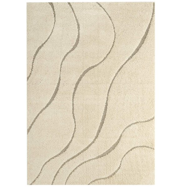 Ball Abstract Swirl Cream/Beige Indoor Area Rug by Orren Ellis