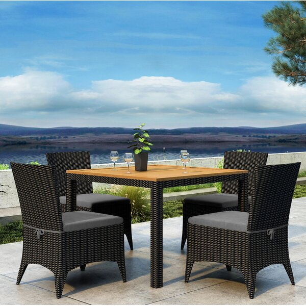 Aisha 5 Piece Teak Dining Set with Sunbrella Cushion by Brayden Studio