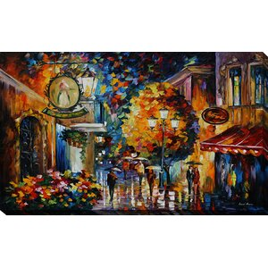 Cafe in the Old City by Leonid Afremov Painting Print on Wrapped Canvas by Picture Perfect International