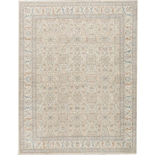 One-of-a-Kind Hand-Knotted Beige 11'8 x 14'10 Wool Area Rug