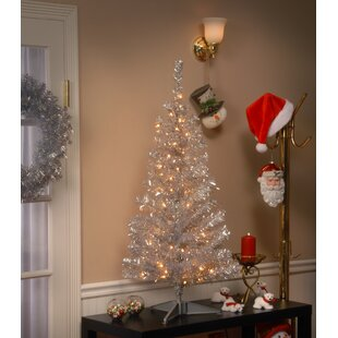 4ft christmas tree with lights 4 ft tinsel trees 4 silver artificial christmas tree with 70 clear lights and stand youll love wayfair