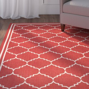 Short Red/Beige Indoor/Outdoor Area Rug By Winston Porter