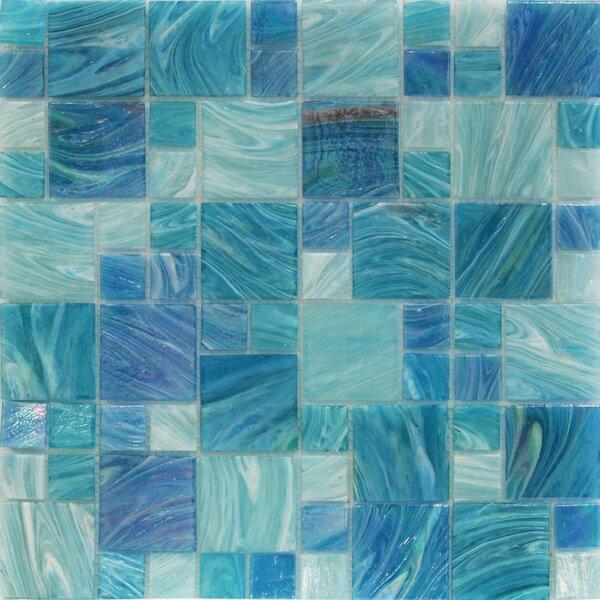 Aqua Random Sized Glass Mosaic Tile in Sky Blue by Splashback Tile