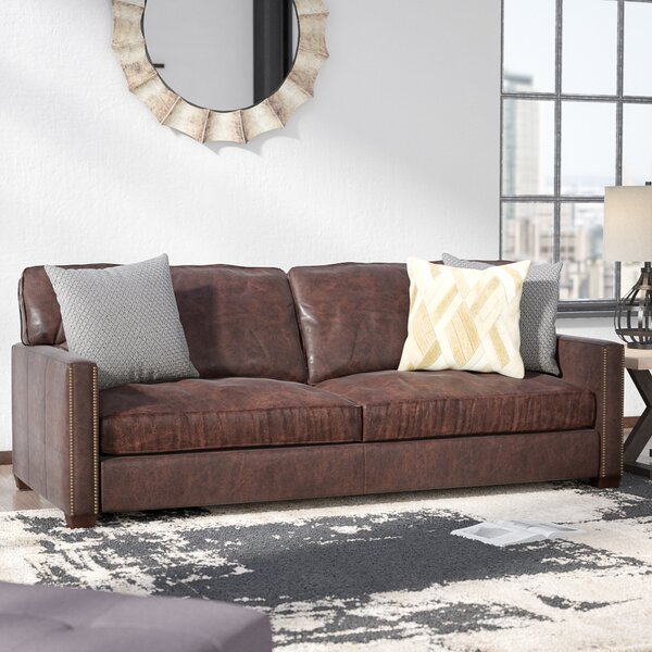 Best Discount Online Grandfield Nailhead Leather Sofa New Deal Alert