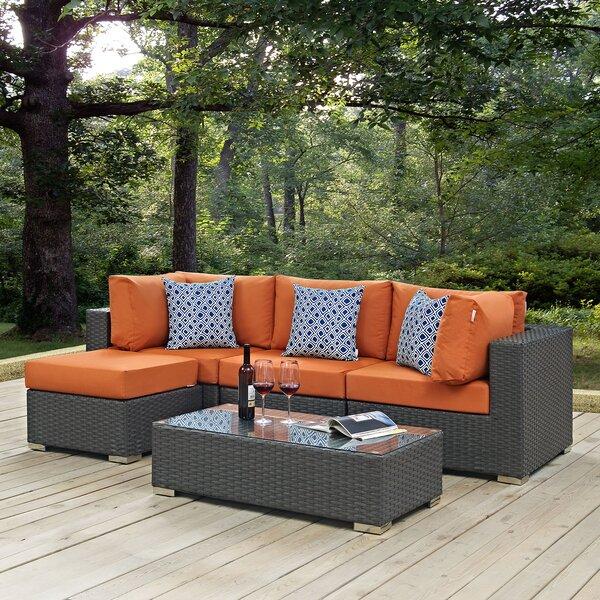 Tripp 5 Piece Rattan Sunbrella Sectional Set with Cushions by Brayden Studio Brayden Studio