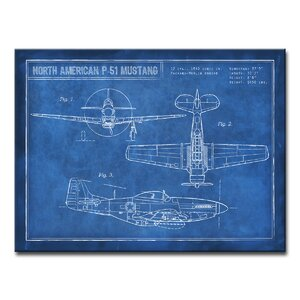 'American P-51 Blueprint'  Framed Graphic Art Print on Wrapped Canvas by Trent Austin Design