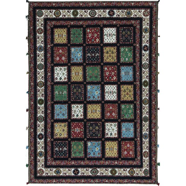 Embossed Hand Knotted Wool Navy/Ivory Rug