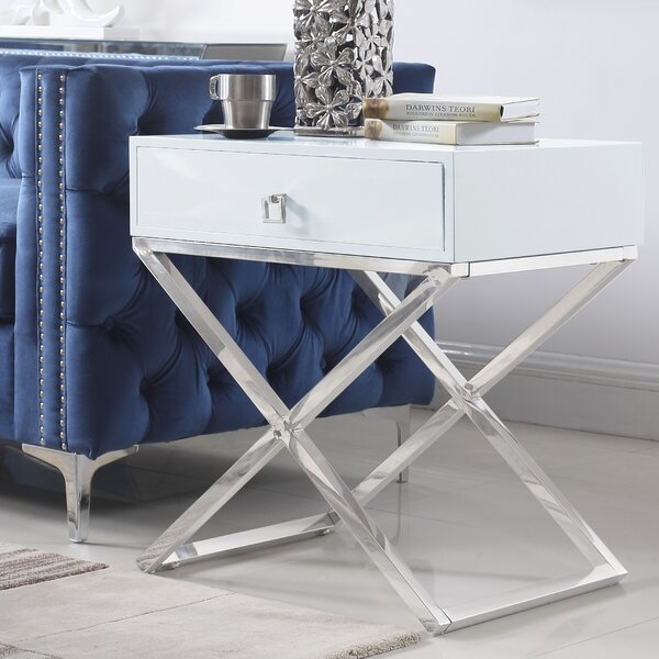 Sergey Wood Top End Table With Storage By Everly Quinn