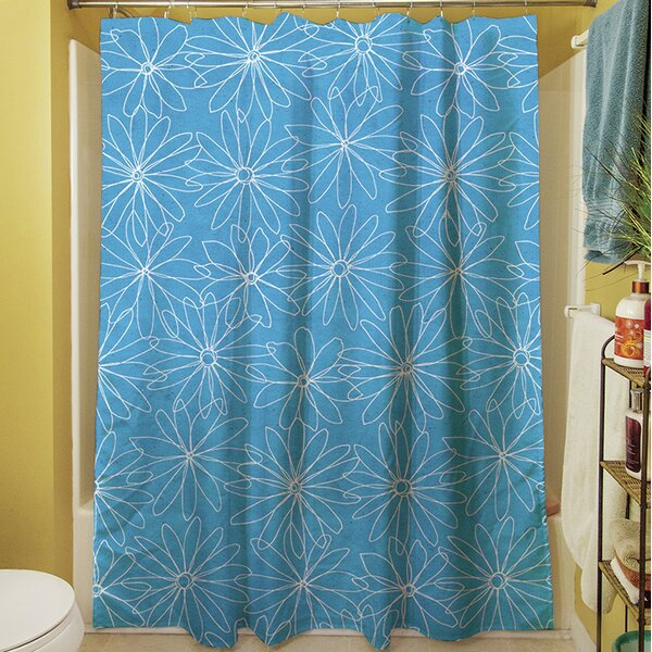 Funky Florals Daisy Sketch Shower Curtain by Manual Woodworkers & Weavers