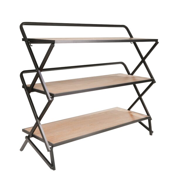 Review Burntwood Wood And Metal Etagere Bookcase