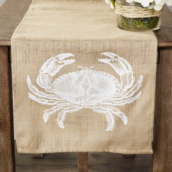 Fruitland Crab Burlap Table Runner by Rosecliff Heights