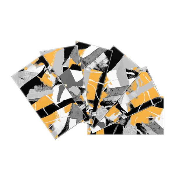 Crystal Skin 3 x 6 Glass Subway Tile in Yellow/Black by SkinnyTile