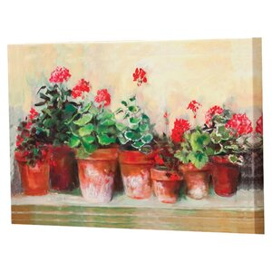 'Outdoor Kathleen's Geraniums' Painting Prints on Canvas by Alcott Hill
