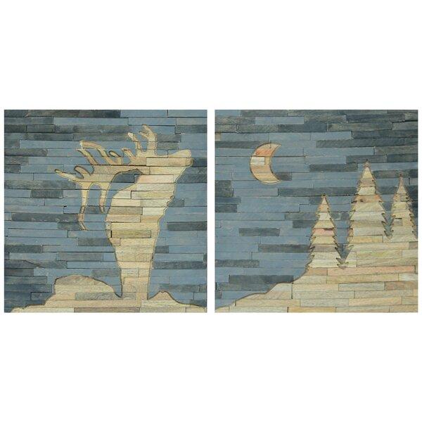Moose and Moon Multi-Piece Image on Wood by Loon Peak
