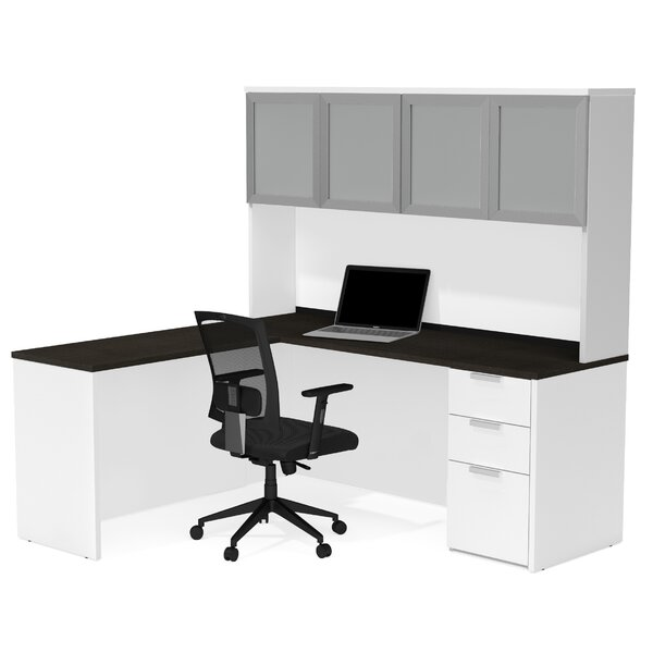 Hartleton Contemporary L-Shape Corner Desk with Hutch by Latitude Run