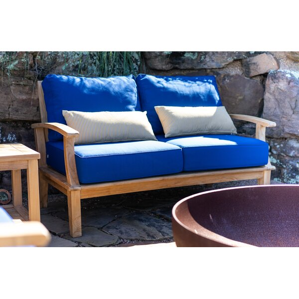 Galvan Teak Patio Sofa with Cushions by Rosecliff Heights