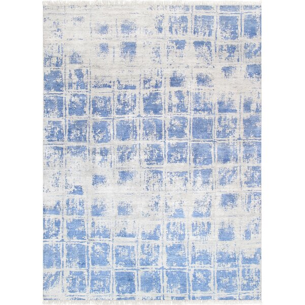 Modern Hand Knotted Silk Silver/Blue Area Rug by Pasargad