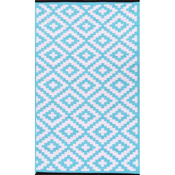 Nirvana Blue/White Indoor/Outdoor Area Rug by Green Decore