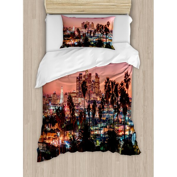 Vibrant Sunset Twilight Scenery Los Angeles Famous Downtown with Palm Trees Duvet Set by East Urban Home