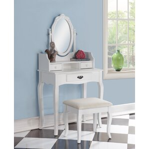 Emmett Ribbon Wood Makeup Vanity Set with Mirror by Alcott Hill