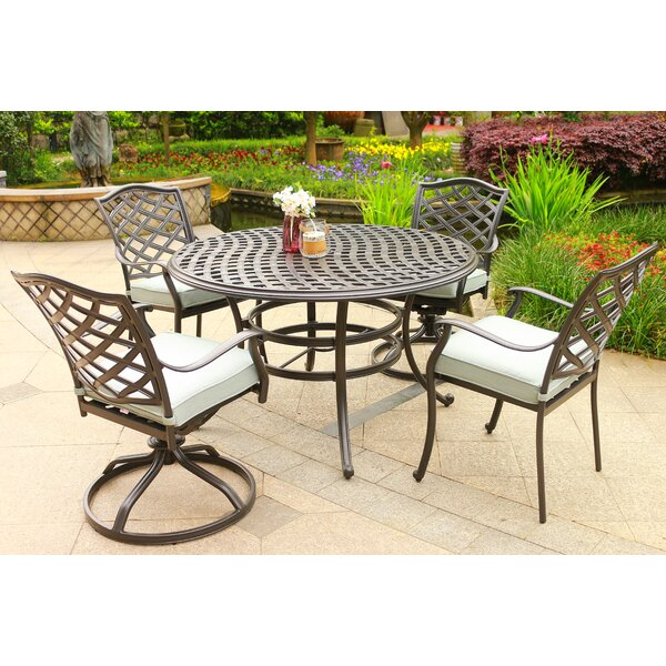 Dalessio Outdoor 5 Piece Sunbrella Dining Set with Cushions by Darby Home Co