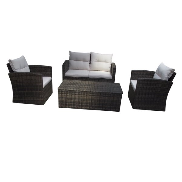 Arreola 4 Piece Rattan Sofa Seating Group with Cushions by Breakwater Bay
