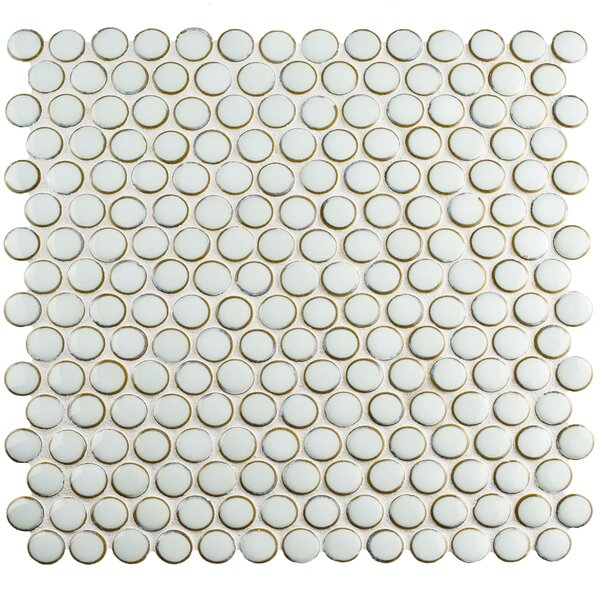 Penny 0.8 x 0.8 Porcelain Mosaic Tile in Silk White by EliteTile