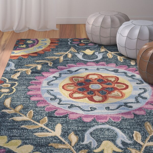 Tomo Hand-Hooked Blue/Yellow Wool Area Rug by Bungalow Rose