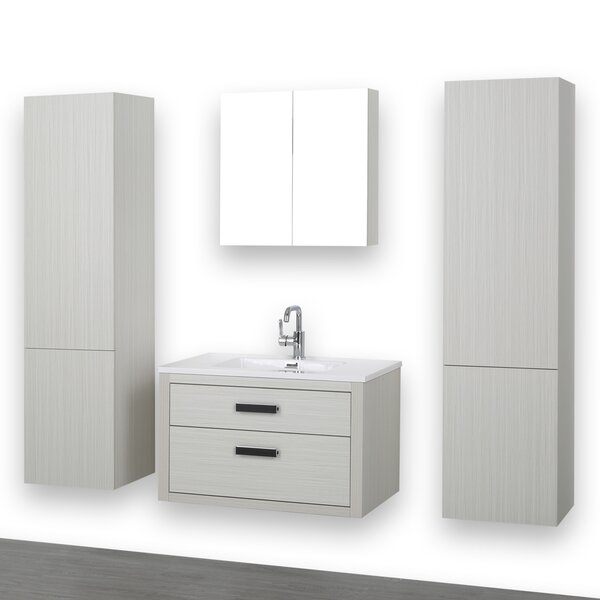 32 Wall-Mounted Single Bathroom Vanity Set with Mirror