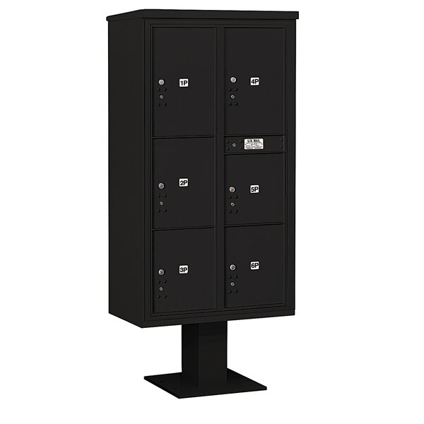 Pedestal Mounted 6 Units 7 Door Front Load 4C Horizontal Cluster Box Unit with 6 Parcel Locker by Salsbury Industries
