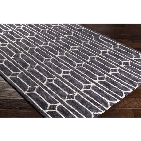 Moultry Hand-Tufted Gray/Black Area Rug by Wrought Studio