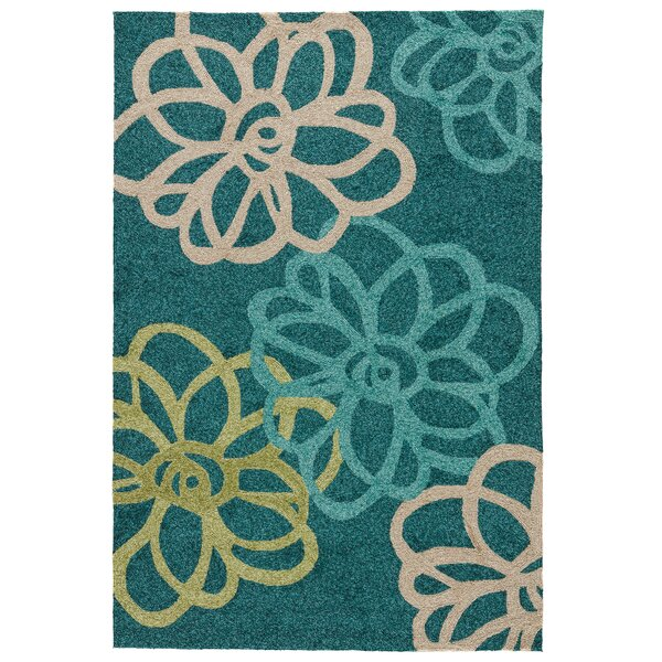 Chester Floral Hand-Hooked Blue/Green Indoor/Outdoor Area Rug