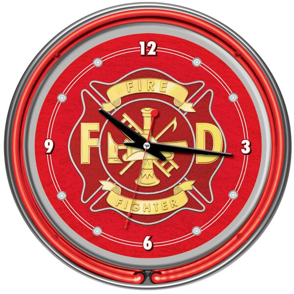 14 Fire Fighter Wall Clock by Trademark Global