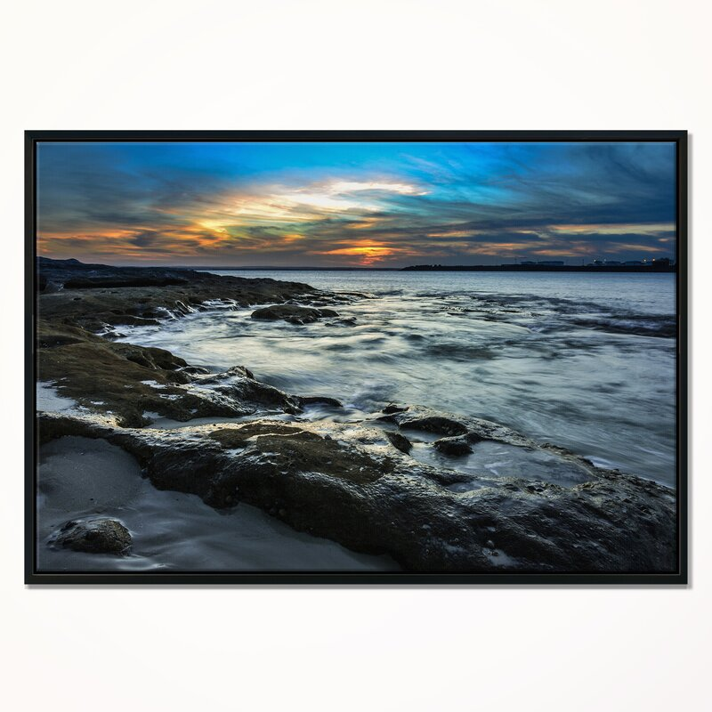 East Urban Home Fascinating Sunset At Australia Coastline Framed Photographic Print On Wrapped Canvas Wayfair